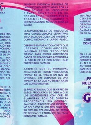 Anuncio sobre alerta de productos falsos Capslim